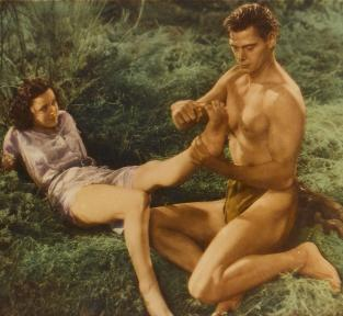 Johnny Weissmuller en Maureen O'Hara in Tarzan the Ape Man (VS 1932).