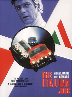 Affiche The Italian Job met Michael Caine en Austin Mini Cooper in de hoofdrollen.